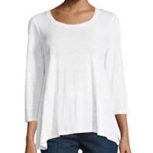 Eileen Fisher White Organic Linen 3/4 Sleeve Top